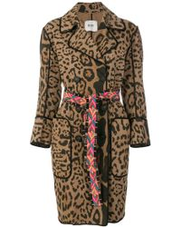 Bazar Deluxe - Leopard Print Double Breasted Coat - Lyst