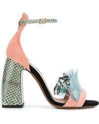 L'Autre Chose - Feather Embellished Colour Block Sandals - Lyst