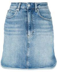 Calvin Klein Jeans - Binding Denim Mini Skirt - Lyst