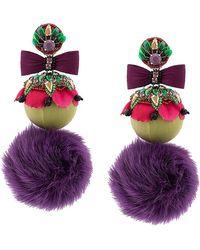 Ranjana Khan - Oversized Fur Pom Pom Earrings - Lyst