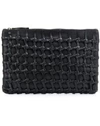 Ann Demeulemeester Woven Leather Clutch Bag - Black