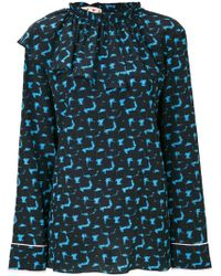Marni - Printed Top With A Ruffle Neck - Lyst