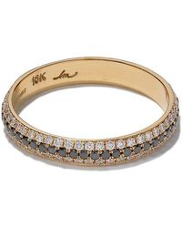 Lizzie Mandler - 18kt Yellow Gold Three Row Diamond Pave Cigar Band - Lyst