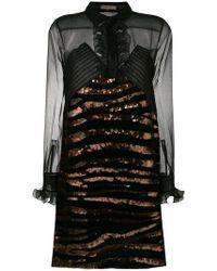 Bottega Veneta - Embellished Sheer Silk Mini Dress - Lyst