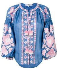 March 11 - Flower Pixel Embroidered Blouse - Lyst