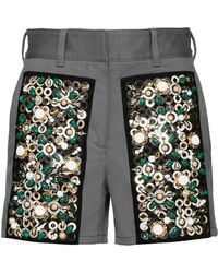 Prada - Embroidered Drill Shorts - Lyst