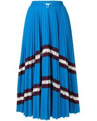 Valentino - Chevron Pleated Midi Skirt - Lyst