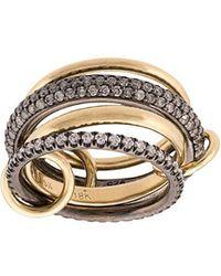 Spinelli Kilcollin - 18kt Yellow And Black Rhodium Silver Vega Diamond 4 Link Ring - Lyst