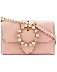 23f83516f5b0 Miu Miu - Mini Pink Leather Crystal Buckle Miu Lady Bag - Lyst