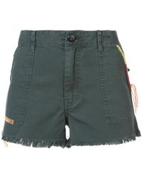 The Great - Embroidered Trim Frayed Shorts - Lyst