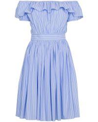 Miu Miu - Off The Shoulder Striped Dress - Lyst