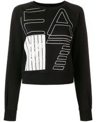 EA7 - Logo Print Cropped Sweater - Lyst