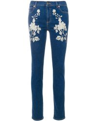 Gucci - Embroidered Skinny Jeans - Lyst