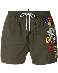 DSquared² - Embroidered Patch Swim Shorts - Lyst
