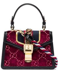 cc3f6ac9d958 Gucci - Multicoloured Sylvie Mini Logo Velvet And Leather Shoulder Bag -  Lyst