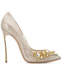 Casadei - Crystal Embellished Court Shoes - Lyst
