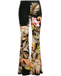 Black Coral - Print Flared Trousers - Lyst