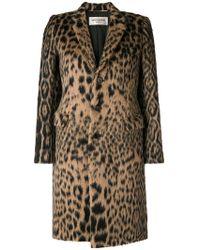 Saint Laurent - Leopard Jacquard Single-breasted Coat - Lyst