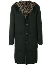 Fendi Hooded Midi Coat - ブラック