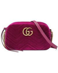 9cfb3b3abae Gucci - GG Marmont Velvet Small Shoulder Bag - Lyst