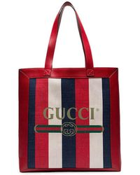 Gucci - Red And Blue Logo Stripe Linen And Leather Tote - Lyst