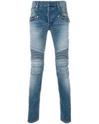 Balmain - Stonewashed Skinny Biker Jeans - Lyst