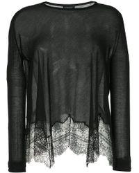 Giambattista Valli - Sheer Scalloped Lace Hem Sweater - Lyst