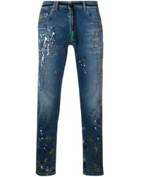 Off-White c/o Virgil Abloh Splatter Print Stonewashed Jeans - Blauw