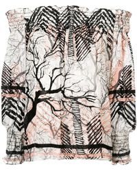 Yigal Azrouël - Off-shoulder Patterned Blouse - Lyst