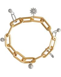 Burberry - Crystal Charm Gold And Palladium-plated Bracelet - Lyst