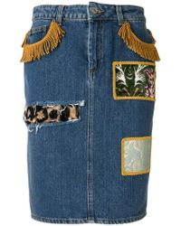 Jeremy Scott - Patchwork Denim Skirt - Lyst