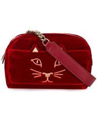 Lyst - Stella Mccartney  Falabella  Cat Crossbody Bag in Gray 4b90a0af2c979