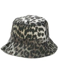 Ganni - Leopard Bucket Hat - Lyst