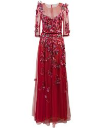 Marchesa notte Embroidered Floral Tulle Gown