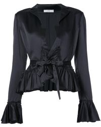 TOME - Tie Blouse With Frills - Lyst