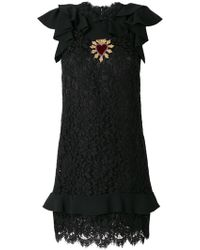 Dolce & Gabbana - Embroidered Heart Crest Lace Dress - Lyst