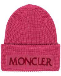 Moncler - Pink Logo Wool Beanie - Lyst