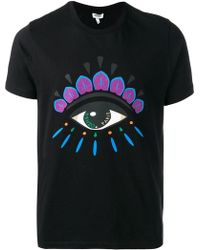 9fd8c2405b23 KENZO Eye Logo Patch On Printed Cotton T-Shirt in Blue for Men - Lyst