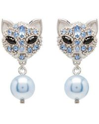 7452a2c4c7a Lyst - Miu Miu Silver Pearl And Crystal Cat Earrings in Metallic