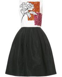 Oscar de la Renta - Embellished Floral-print Pleated Dress - Lyst
