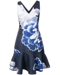 Josie Natori - Peony Print Ruffle Hem Dress - Lyst