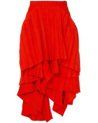 Facetasm - X Woolmark Pleated Asymmetric Tiered Skirt - Lyst