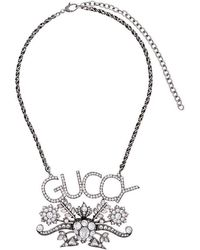 Gucci - Logo And Floral Pendant Crystal Necklace - Lyst