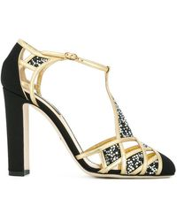 Dolce & Gabbana - Embellished T-bar Sandals - Lyst