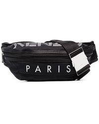 KENZO - Black And White Logo Print Leather Trimmed Cross-body Bag - Lyst