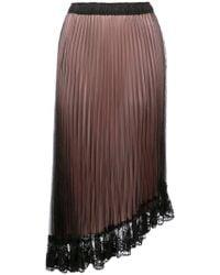CLU - Asymmetric Lace Hem Pleated Skirt - Lyst