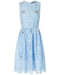 Markus Lupfer - Taylor Lace Embroidered Mini Dress - Lyst