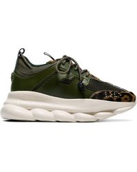 Versace Khaki Green Chain Reaction Leopard Print Low-top Leather Trainers