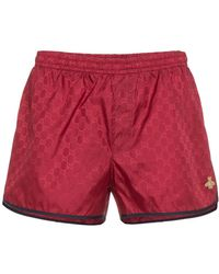 Gucci   Red Gg Monogram Swimshorts   Lyst