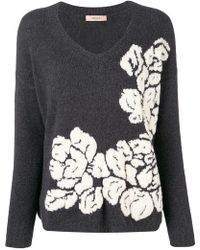 Twin Set - Floral Knitted Sweater - Lyst